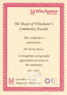 Mayors Award Certificate